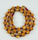 Vintage Millefiori Art Glass Round Orange and Blue Beads Beaded Necklace