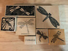 Dragonfly Insects Collage Writing Assortment wood mounted rubber stamps lot