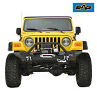 EAG Front Bumper W Winch PlateD Rings Textured Fit 87 06 Jeep Wrangler TJ YJ