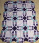 Pretty Purple Double Wedding Ring Baby Lap Quilt TOP 39 x 50 Handsewn