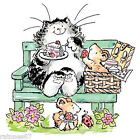 New Penny Black BREAK FOR CAKE Wood Rubber Stamp Cat Mice Park Beach Picnic Food