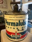 Antique 1940s Amoco Permalube 5 Gallon Oil Can With Wood Handle! Clean! Nice!