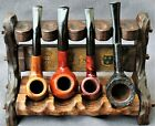 Rustic Wood Stand with 4 Lovely Refurbished Briar Estate Pipes 3 Bent As Below