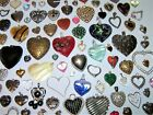 HEARTS 100 Vintage Now Valentine Pendants  Charms Rhinestone Enamel Glass +