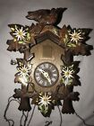 Vintage Hand Painted Flowers Hand Carved Bird Musical Cuckoo Clock Germany