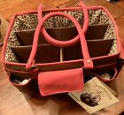 NEW Everything Mary LEOPARD RED BROWN Scrapbook Tote Storage Craft Bag Organizer
