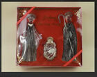 Gorham Crystal and Gold 3 Piece Nativity Set with Original Box