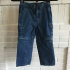 VINTAGE Boys Sz 6 Detachable Zip Unzip Conversion Cargo 90S Denim Shorts Jeans