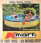 VINTAGE 1972 ABOVE GROUND SWIMMING POOL COLECO KMART YELLOW STEEL WALL 10ft