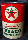 ORIGINAL• Vintage TEXACO IMPROVED MOTOR OIL 1 Quart Tin Can • Nice !
