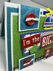 Handmade greeting card Big Brother Trains Helicopter Boys ADORABLE Blue 3 D