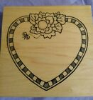 Heart and Flowers RUBBER STAMP New