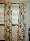 Vintage MARTHA STEWART EVERYDAY Floral Pink Roses Unlined Curtain Panel Pair USA
