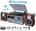 TechPlay ODC128BT Wood Stereo Record Player Turntable Bluetooth CD Cassette
