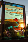 Stained Glass Window Panel vineyard winery grape toast mountain valley love