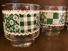 Vintage Green Libbey Gingham Patchwork Juice Glasses- Farmhouse Style- Ex. Cond