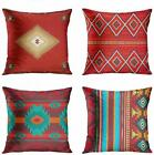 Southwest Western Tribal Red Native Aztec ArtSocket Pillow Covers 18x18 4 to Set