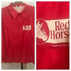 Vintage 70s Red Horse Chewing Tobacco Jacket Flannel Lined Size Large