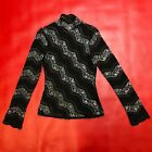 Cache Black Lace Silver Metallic Accent Netted Long Sleeve High Neck NWT Top M