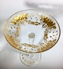 Antique Moser Glass Compote Tazza Intaglio Gold Flowers Bohemian Glass Czech