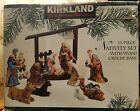 Large Signature Kirkland 13 Piece Porcelain Christmas Nativity Set Wooden Creche