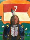 NATIVE AMERICAN CHIEF PORTRAIT MODERN ART OIL PAINTING DUMONT LISTED ARTIST