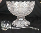 AMERICAN BRILLIANT ABP CUT GLASS PUNCH BOWL  STAND c 1880 1920 w LADLE