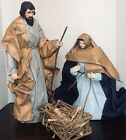 Vintage Fabric Mache Creche Scene Holy Family Christmas Manger Nativity Set of 3