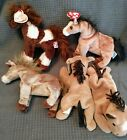 Beanie Babies 5 Horses: Filly, 2 X Derby, Thunderbolt, and Oats