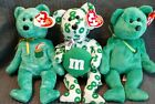 Beanie Babies Irish Bears: Killarney, Green M&M, Dublin