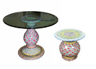 Mackenzie Childs Ceramic Pedestal Dining Table With Glass Top 42 Round
