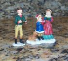 Father Mother Daughter Carolers Caroling Christmas Village Figurines Family +Dog