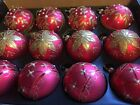 Christmas Gold  Red Glass Baubles With Floral Detail 8cm Set Of 12 404