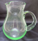 HAND BLOWN CLEAR LITTLE GREEN GLASS PITCHER HUGE 9