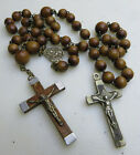 VINTAGE ANTIQUE WOOD BEADS ROSARY CHAPELET TWO CROSS 14 MISS BEADS TO FIX