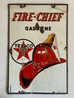 Vintage Original Texaco Fire Chief Porcelain Gas Pump Sign