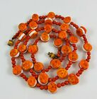 Vintage Art Glass Orange Yellow Swirl w Center White Oreo Beads Beaded Necklace