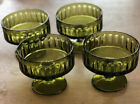 Indiana Glass Ribbed Design Sherbet Glasses Olive Green Set of 4