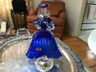 Vintage Italy Murano Art Glass Venetian Lady cobalt blue Gold fleck mid century