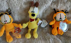 Lot of 3 Ty Beanie Babies Garfield and Odie Ode to Odie Got Lasagna? MWMT