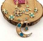 Set Betsey Johnson Jewelry Enamel Fashion Sun Moon Crystal Earring and Necklace