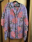 Bold Bright Graphic 80s Silk Tunic Top Shirt 3X French Vanilla Shoulder Pads