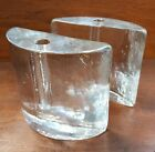 Pair of 1960s Blenko Clear Glass Half Moon Bookends with Pen Holders