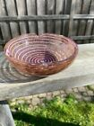 Murano Art Glass Pink Swirl Stripes and Gold Aventurine Small Bowl or Ashtray