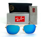 New Ray Ban Caravan RB3136 112 17 Sunglasses Gold Frame Blue Flash Mirror Lens