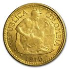 1919 Colombia Gold 5 Pesos Native Chiseling Rock