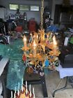 Vintage Murano Crystal Fruit Flowers Grapes Drops Gold Gilt Crystal Chandelier