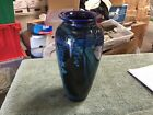 VINTAGE Rick Satava Signed Hand Blown Glass Vase Blue Swirl W 42
