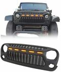 Front Grille For Jeep Wrangler JK 07 17 W 5 Led Lights Black Angry Bird
