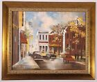MID CENTURY PAINTING SMALL TOWN SQUARE VINTAGE DOWNTOWN LANDSCAPE SIGNED 16x20